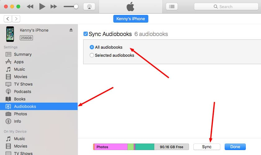 Syncing All Audiobooks to iPhone