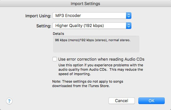 iTunes Import Settings for Audiobook